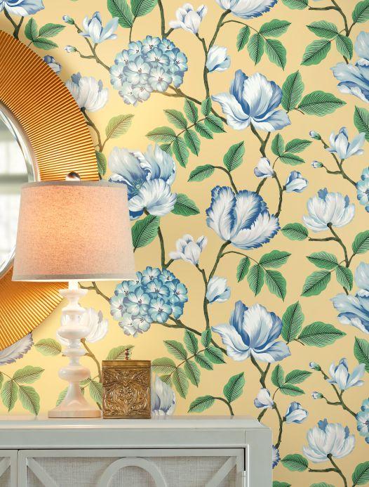 Papel pintado floral Papel pintado Alba amarillento claro Ver habitación