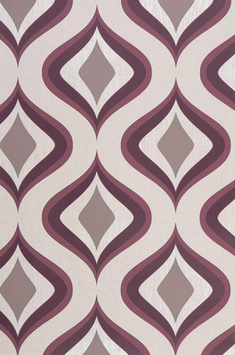 Wallpaper Triton Matt Retro ornaments Light ivory Brown beige Wine red