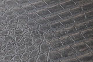 Papel pintado Gavial Mate Imitación cuero  Beige grisáceo Gris negruzco Gris sombra