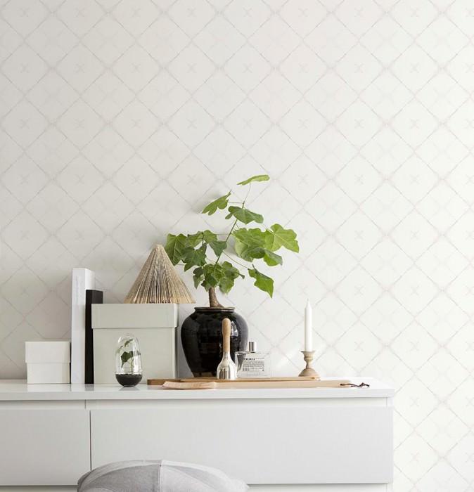 Papel pintado Senzei Mate Imitación a baldosas vidriadas Gris beige Blanco crema