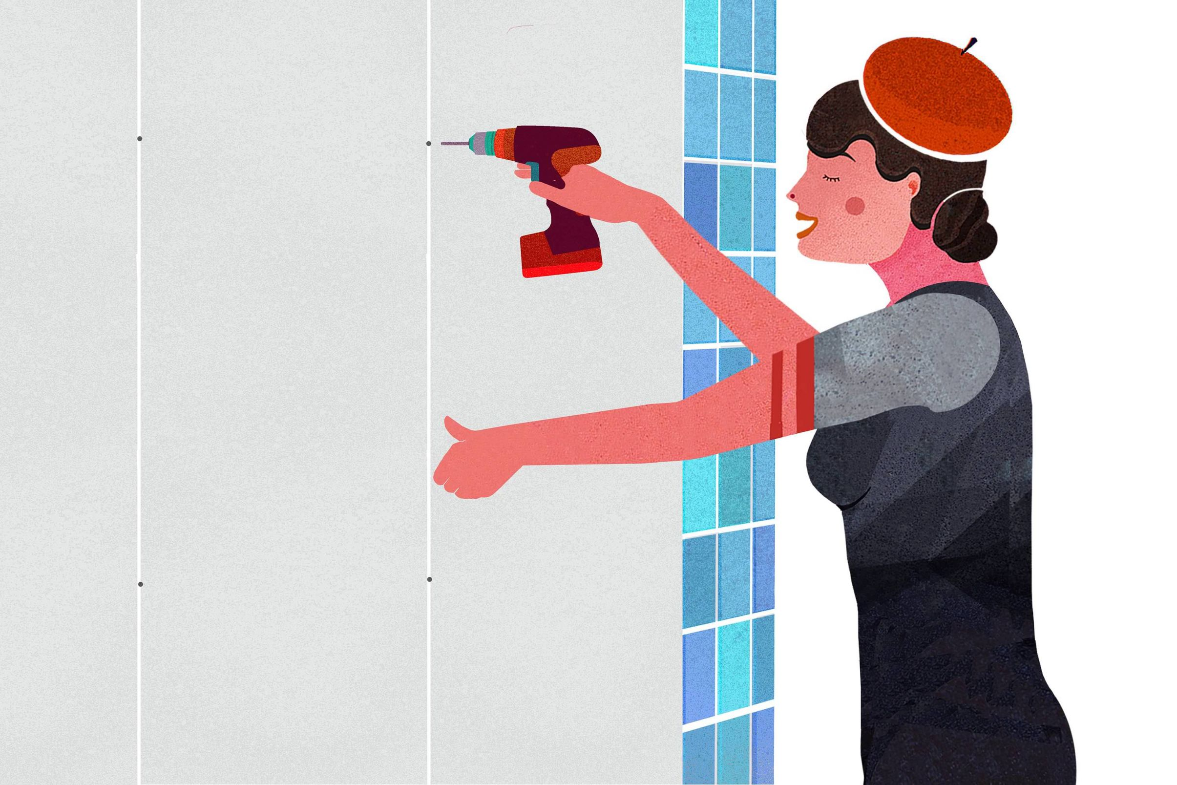 How-to-wallpaper-in-the-bathroom-Mounting-plasterboard-panelling-drilling-holes-in-grouting