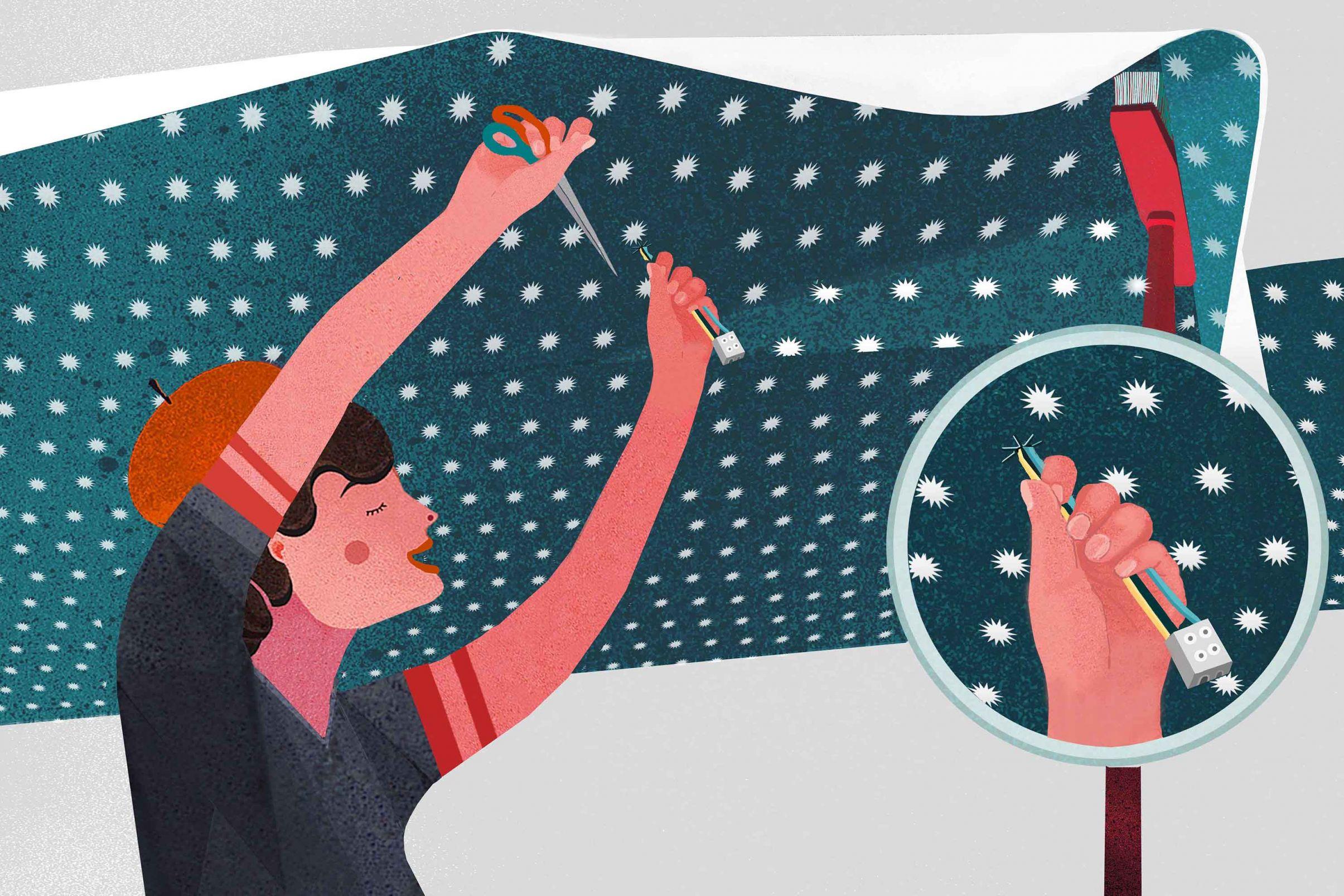 Como-colocar-papel-de-parede-no-teto-Corte-um-buraco-para-o-encaixe-do-candeeiro