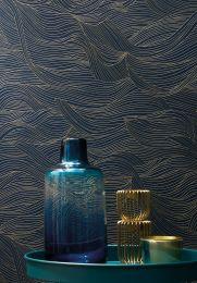 Papel de parede Abanico azul escuro
