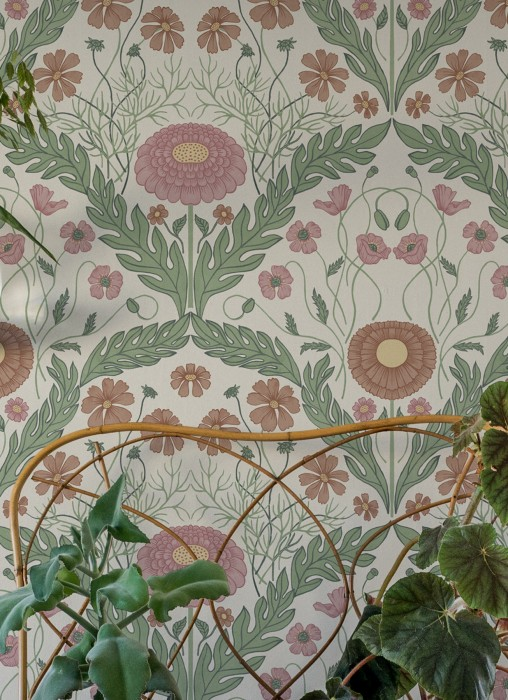 Wallpaper Lomasi Matt Floral damask Grey white Antique pink Ivory Pastel green Pastel violet