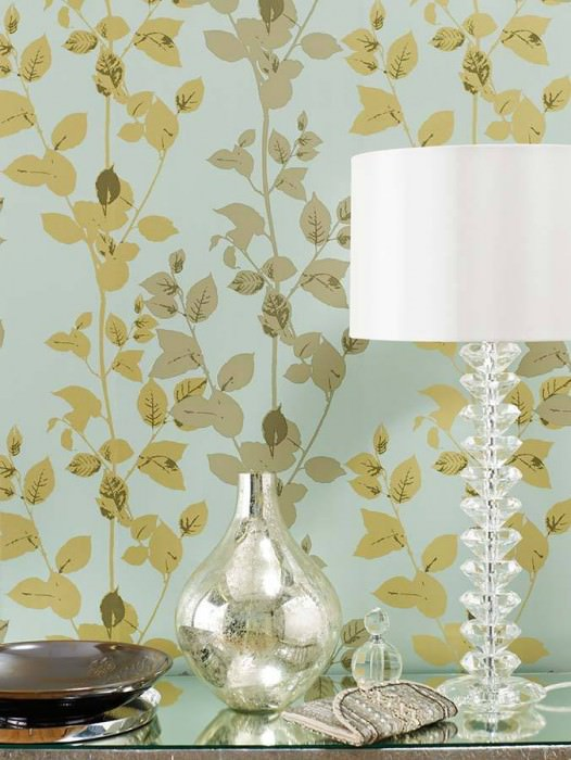 Papel de parede Pallas Brilhante Folhas Ramos Turquesa pastel Cinza bege Ouro Marrom acinzentado