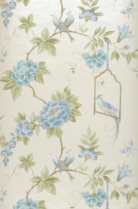Papel pintado Venetia Patrón mate Superficie base brillante Flores Pájaros Ramas Blanco ostra Verde pálido Azul Beige grisáceo Azul claro