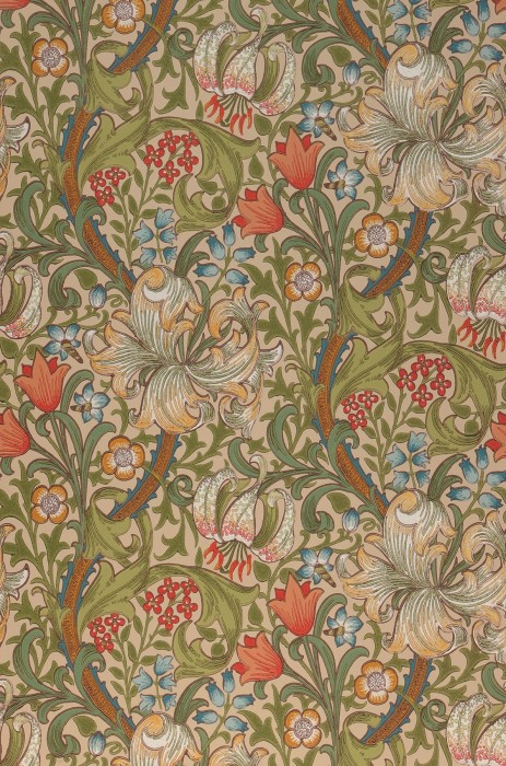 Wallpaper Wispa Hand printed look Matt Leaf tendrils Flower tendrils Lilies Light beige Grey white Shades of green Ochre brown Pastel turquoise Red