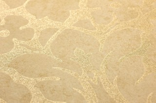 Papel pintado Lumina Patrón mate Superficie base brillante Damasco floral Oro brillante Beige claro