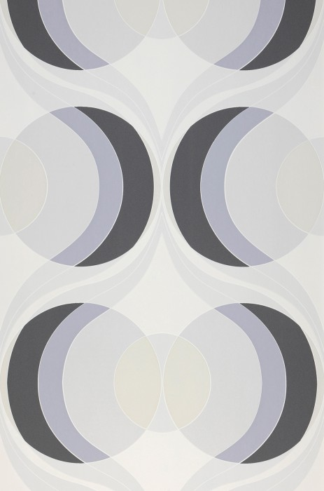 Wallpaper Talita Matt Circles Retro design Waves Cream Dark grey Grey Grey white Pebble grey