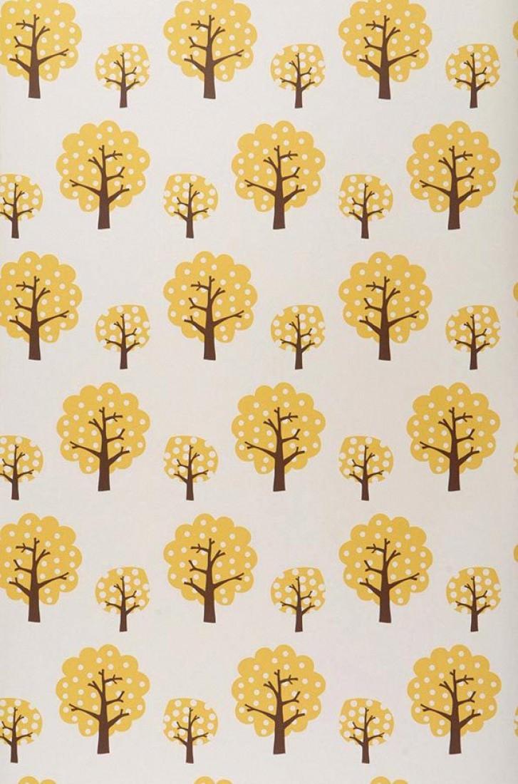 Dotty blanc cr me brun fonc jaune or papier peint enfants motifs du - Papier peint des annees 70 ...