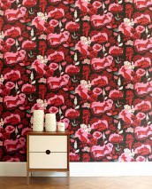 Wallpaper Fox family Matt Trees Leaves Foxes Black Pink Red White