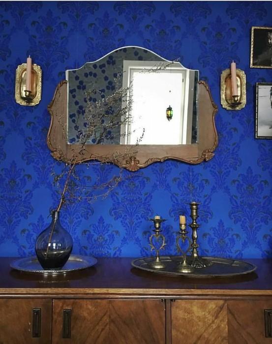 Papel pintado Georgina Efecto impreso a mano Mate Damasco floral Azul Amarillento claro Azul negruzco Azul marino