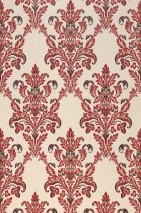 Wallpaper Georgina Hand printed look Matt Floral damask Cream Brown beige Crimson red Chocolate brown