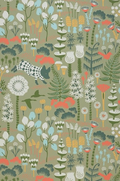 Wallpaper Eurissa Hand printed look Matt Leaves Flowers Animals Pale green Pale blue Blue Green Cream Leaf green Orange