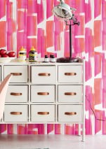 Wallpaper Pandero Matt Modern Art Stripes Pink Red White