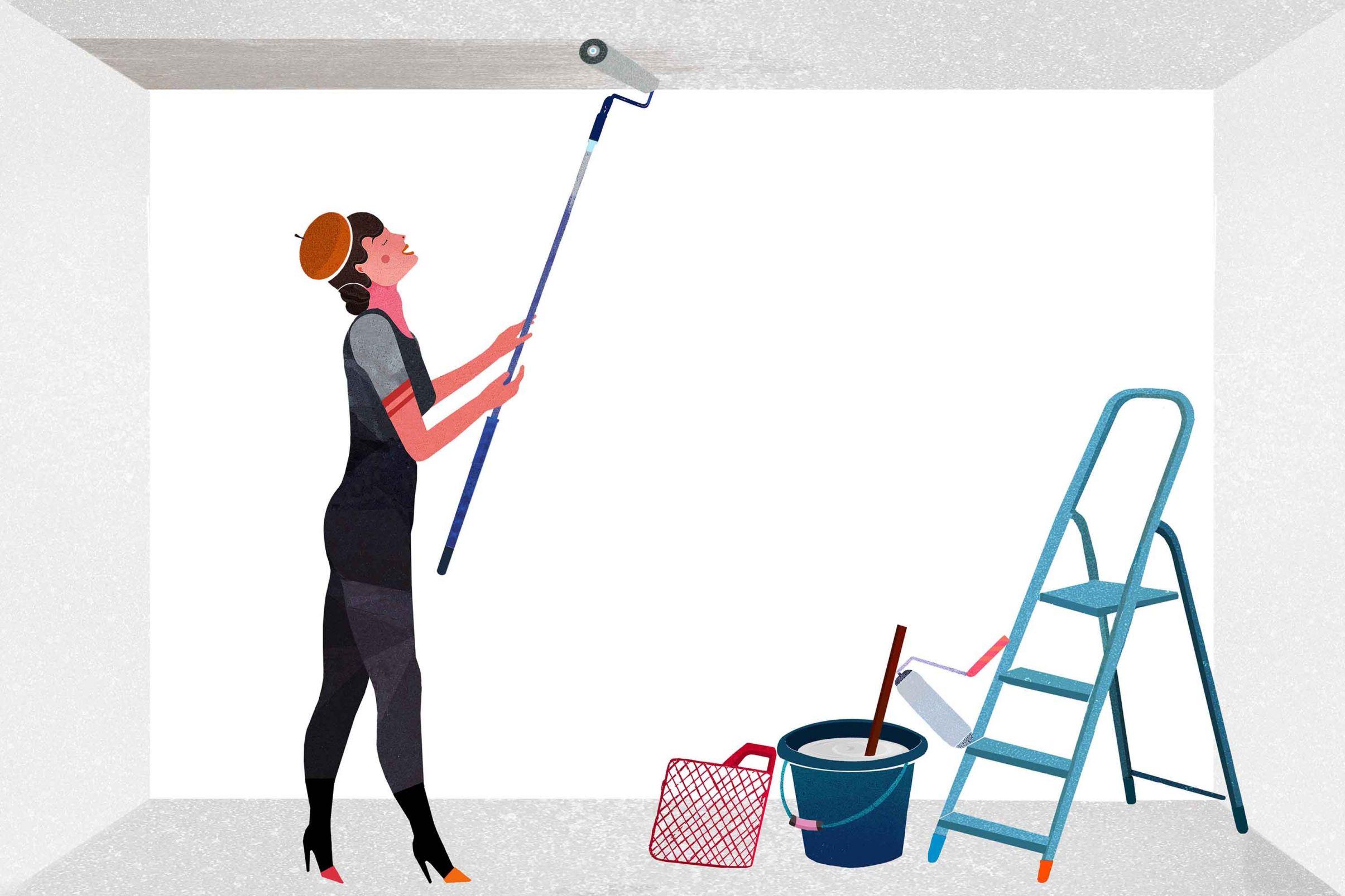 Como-empapelar-el-techo-Aplicar-pasta-adhesiva-al-techo