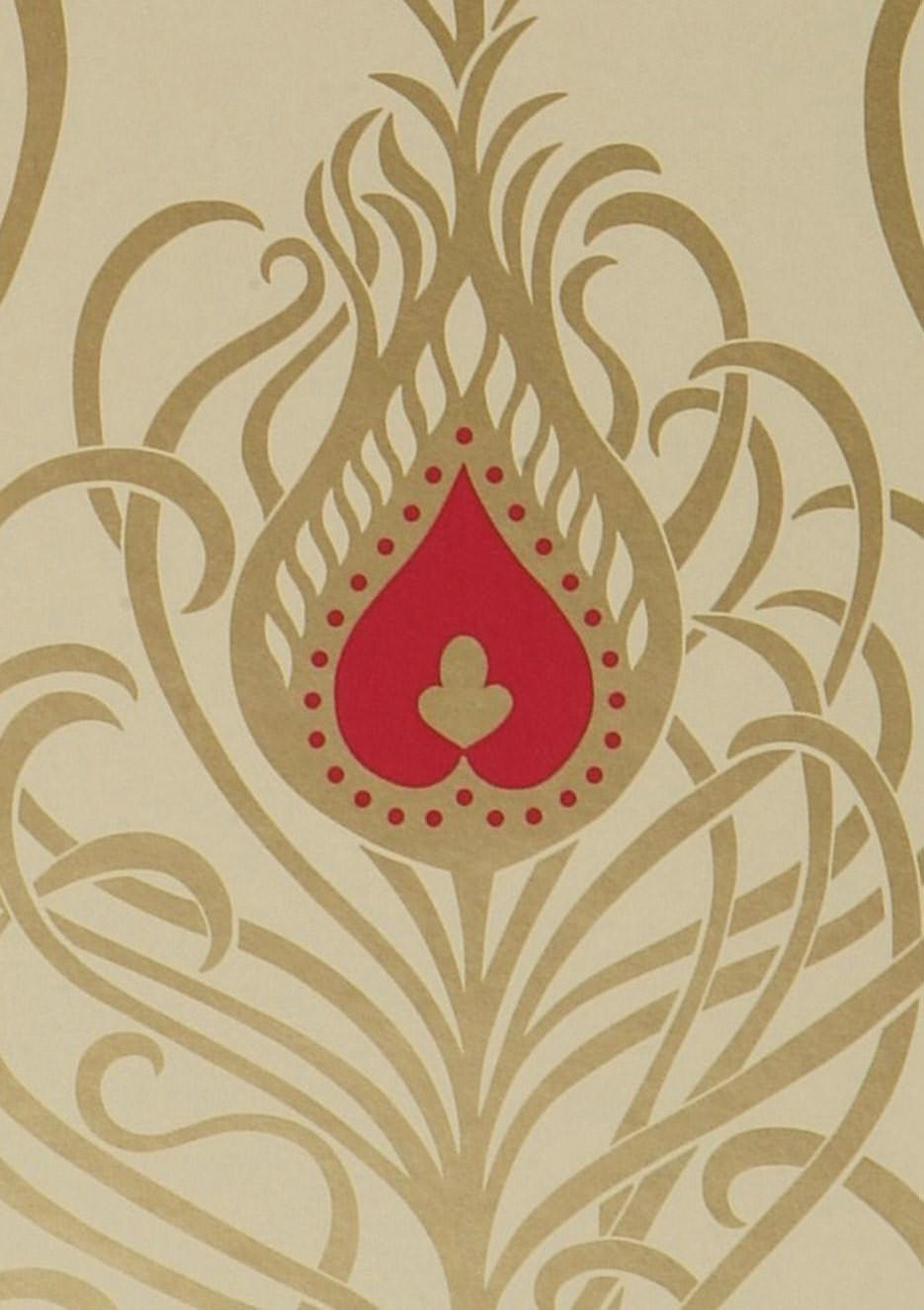 papier peint ivoire clair dor rouge framboise papier peint des ann es 70. Black Bedroom Furniture Sets. Home Design Ideas