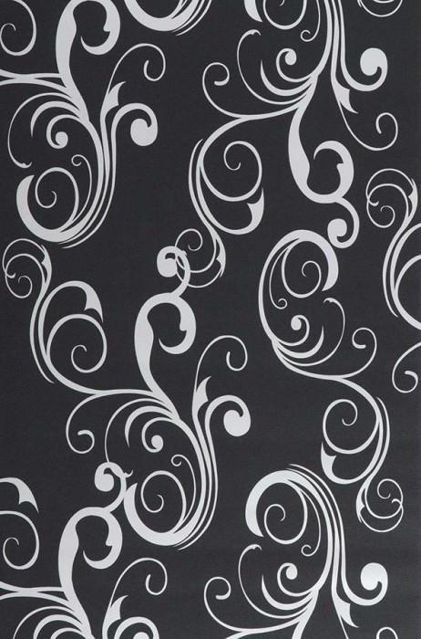Wallpaper Occodo Shimmering pattern Matt base surface Baroque elements Black Oyster white