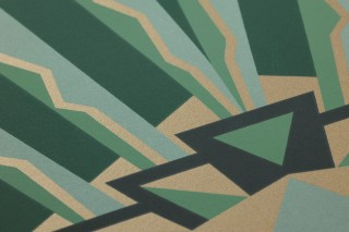Wallpaper Tonda Matt Art Deco Graphic elements Pine green Matt gold Pastel green Black green