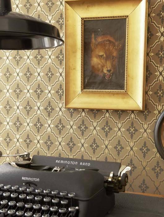 Papel de parede Hades Padrão brilhante Superfície base mate Ornamentos losango Bege pardo Ouro lustre Cinza negrusco