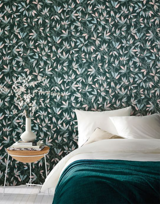 Botanical Wallpaper Wallpaper Dagista black green Room View