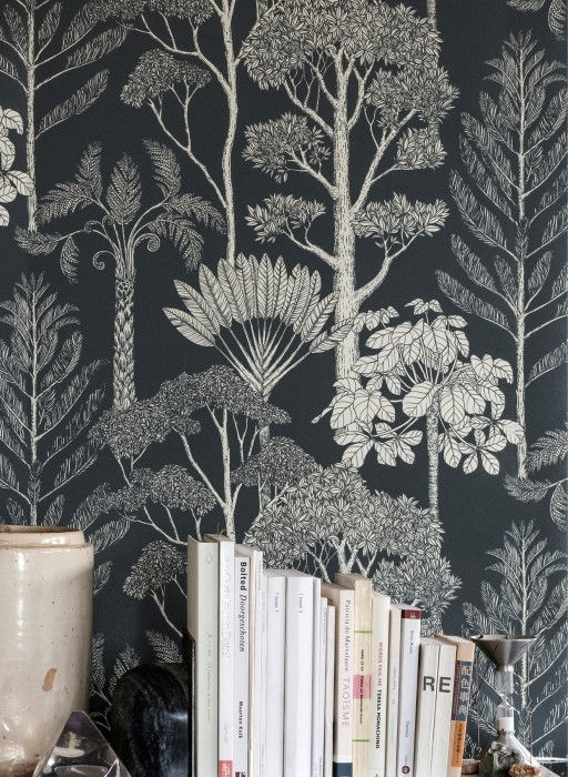 Wallpaper Trees Matt Trees Anthracite Cream