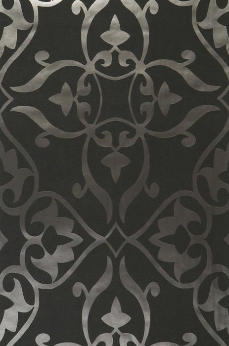 Wallpaper Boreas Shiny pattern Matt base surface Modern damask Black grey Anthracite lustre