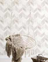 Wallpaper Wood Herringbone Matt Imitation wood Beige grey Cream Grey white