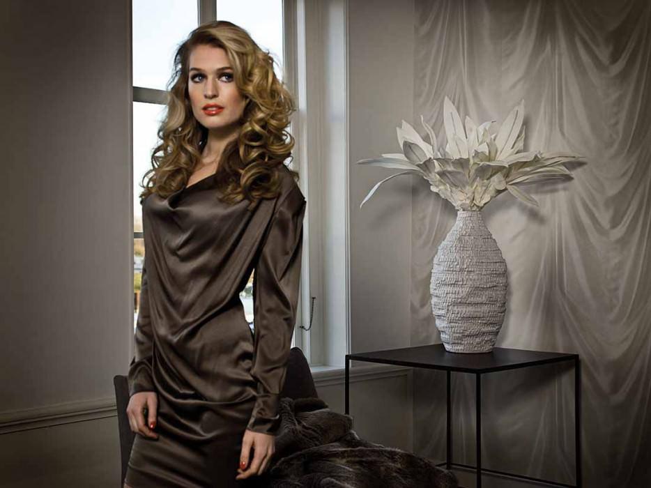 Papel pintado Vogue Brillante Efecto textil Tapicería Blanco crema Marfil claro