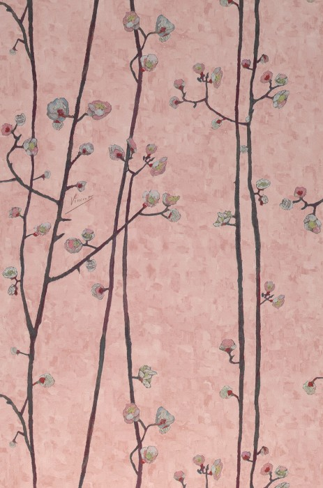 Wallpaper VanGogh Branches Matt Branches with blossoms Pale rosewood Antique pink Grey brown Green yellow Pastel turquoise