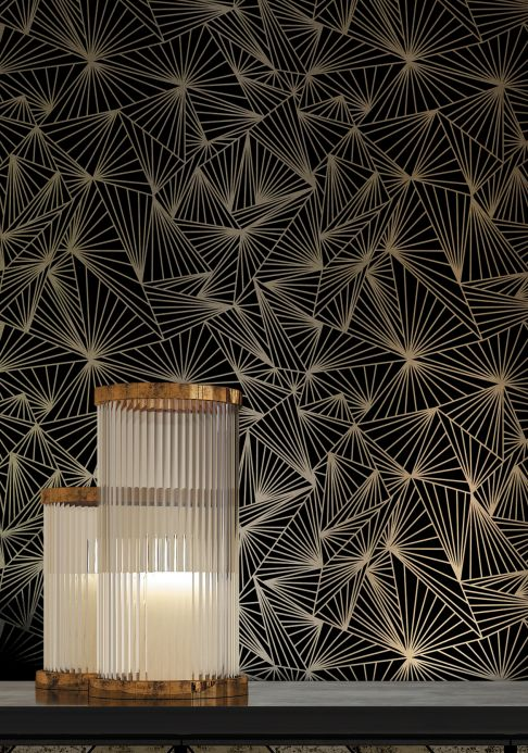 Geometric Wallpaper Wallpaper Fitzgerald black Room View