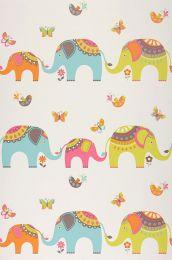 Papel de parede Elephants verde amarelado