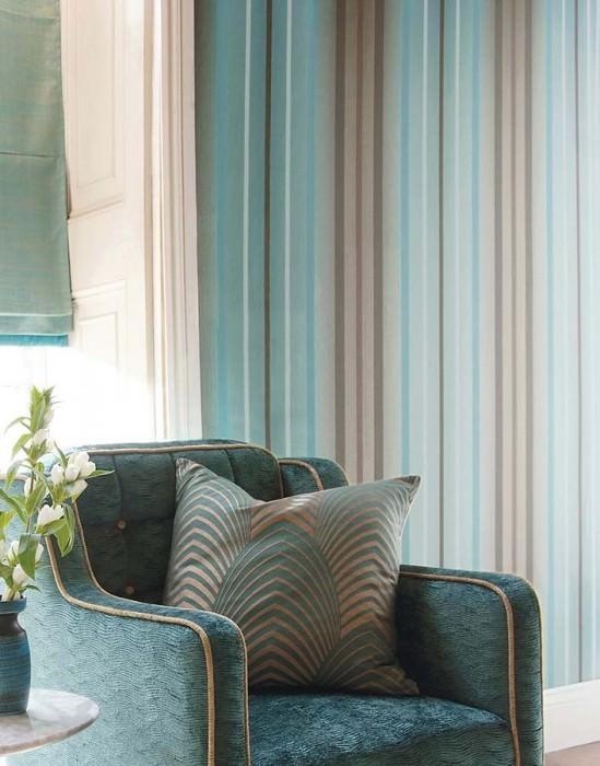 Wallpaper Orthos Matt Stripes Turquoise Grey brown White gold lustre