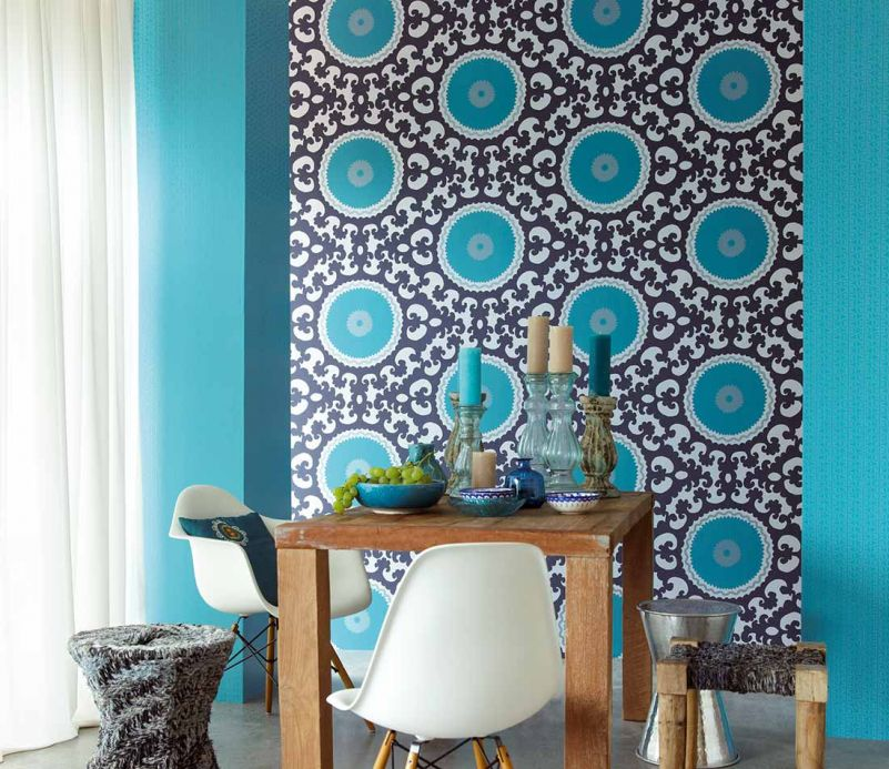 Archiv Wallpaper Aton turquoise Room View