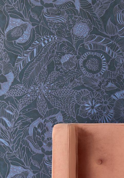 Botanical Wallpaper Wallpaper Welamie violet-blue shimmer Room View