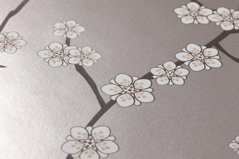Carta da parati kyoto grigio argento brillante beige for Carta parati argento