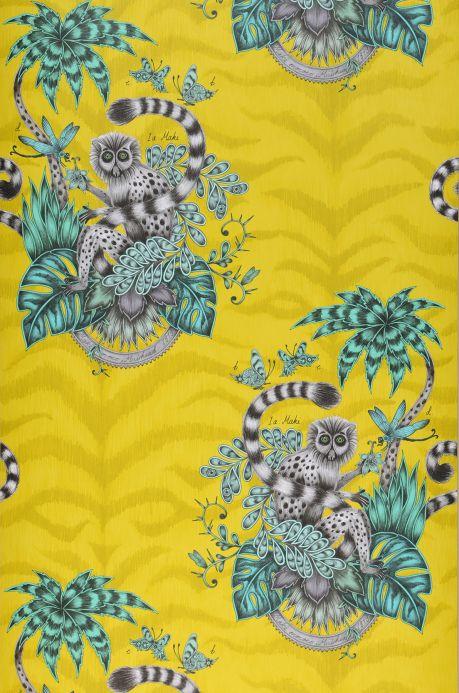 Papier peint Papier peint Lemur jaune vert Largeur de lé