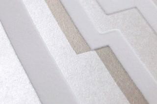 Papel pintado Lazarus Mate Elementos gráficos Blanco crema brillante Gris beige brillante