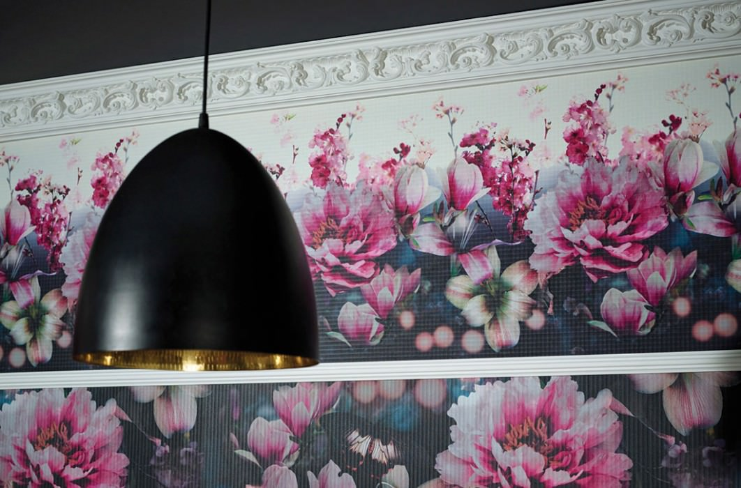 Wallpaper Emidia Matt Blossoms Cream Black Heather violet Grey white Green Orange Pink