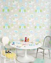 Wallpaper Cirkus Hand printed look Matt Bears Elephants Cats Lions Big Top Light grey beige Light blue Light green White