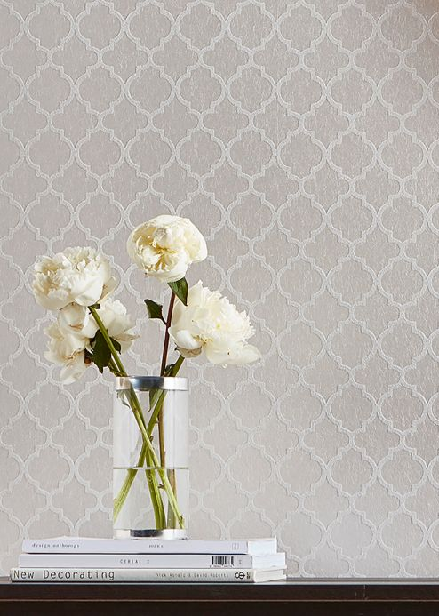 Oriental Wallpaper Wallpaper Ginevra oyster white Room View