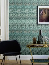 Wallpaper Manalle Shimmering Hypnotic Elements Beige grey Pale blue Shades of green Black brown