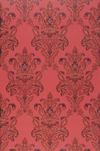 Wallpaper Georgina Hand printed look Matt Floral damask Strawberry red Brown red Matt gold Black brown