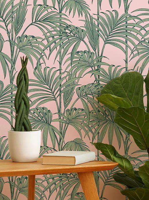 Papel pintado botánico Papel pintado Tatanu rosa claro brillantina Ver habitación