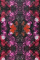 Wallpaper Mendonka Matt Bubbles Light dots Black Raspberry red Orange red Pink White