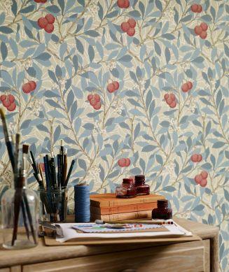 Papel pintado Antonia azul pastel Ver habitación
