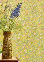 Wallpaper Videnna Matt Flower tendrils Yellow Antique pink Orange Pastel green