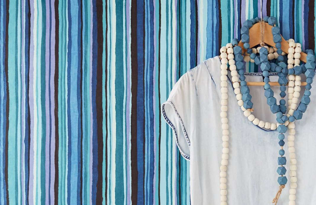 Papier peint à rayures Papier peint Zeno bleu turquoise Vue pièce