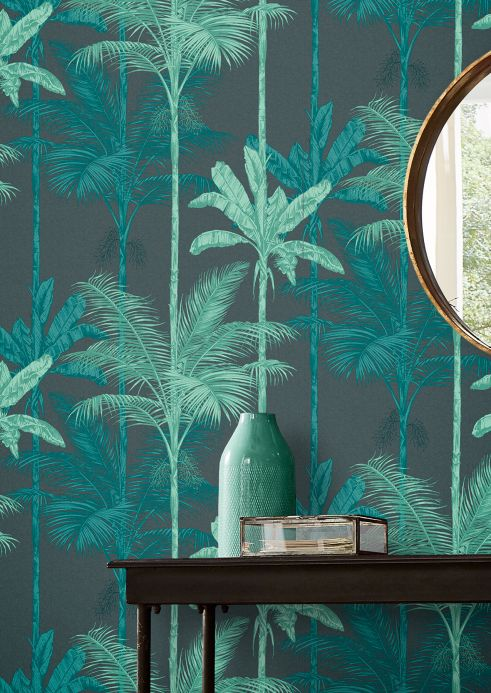 Bedroom Wallpaper Wallpaper Tamaris mint turquoise Room View