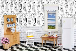 Papel pintado 50's Housewives Mate Amas de casa vintage Blanco Negro